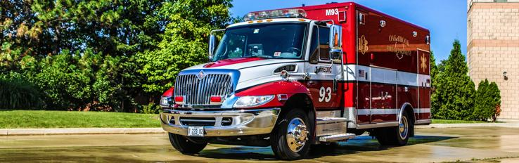 Red Emergency Medical Services Ambulance